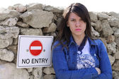 Cute NO ENTRY Girl — Foto de Stock