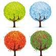 Four seasons - spring, summer, autumn, winter. — Cтоковый вектор