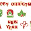 Christmas sticker icons — Stok Vektör