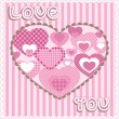 Vector de stock : Card with hearts, vector