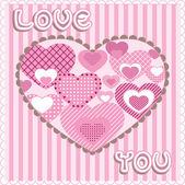 Cartão com corações, vector — Vetorial Stock