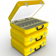 Briefcase Yellow suitcase with money — Foto Stock