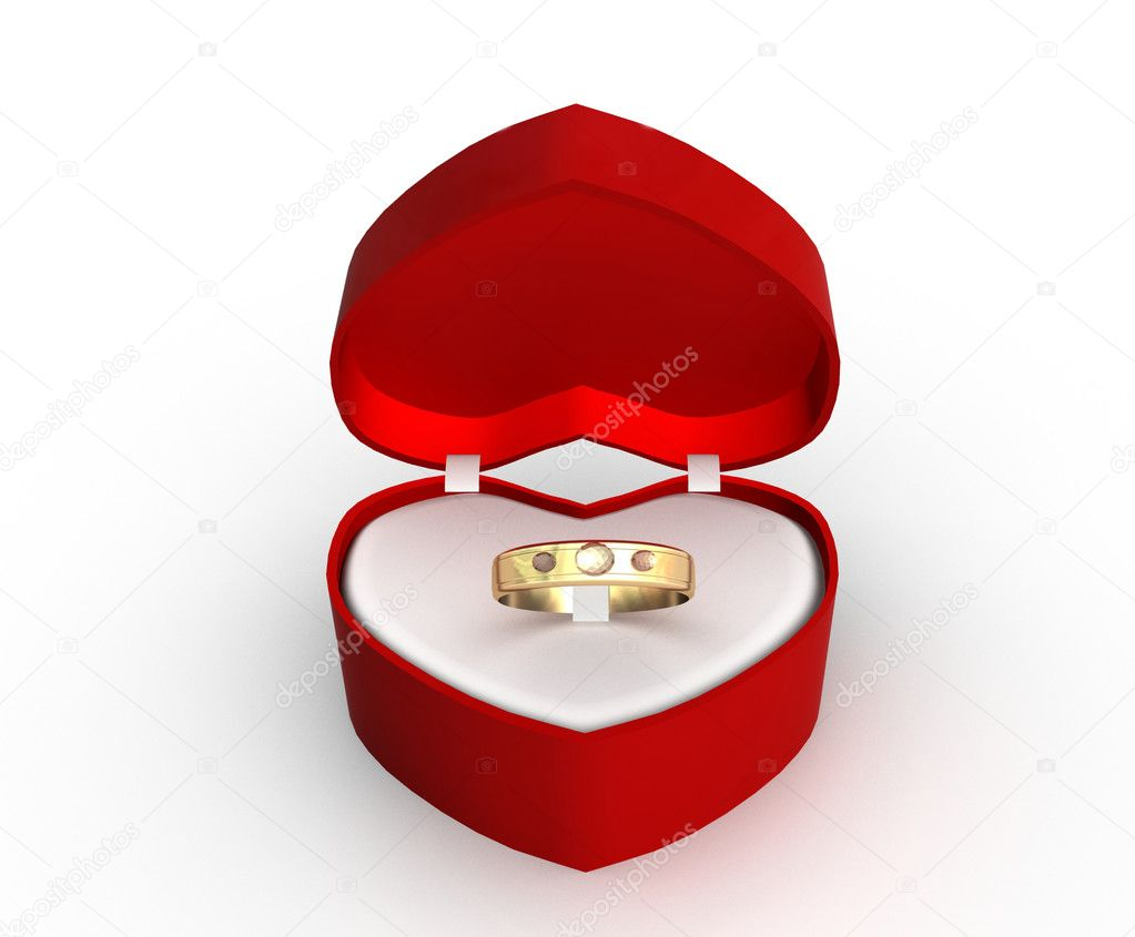 Wedding Ring Gift Box : Wedding ring in a gift box with a white background - Stock Photo ...