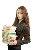 The young beautiful librarian — Stock Photo