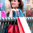 Young Brunette Female Shopper Resting — Stock Photo