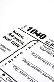 Form 1040 with Pen and Coffee — Stock Photo