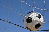 Closeup of Soccer Ball in Goal — Stock Photo