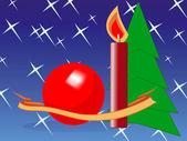 Teyp, Küre, mum, kürk-ağacı, yıldız — Stok Vektör