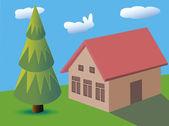 House fur-tree, grass, clouds, light-blue sky, nature, — Stock Vector
