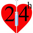 Syringe and heart 24 h — Stock Vector