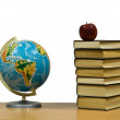 Globe, apple and books — Stock Photo