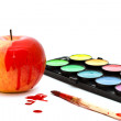 Apple and paints — Stock Photo