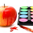 Apple, paints and apples — Stock Photo