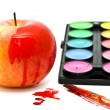 Apple, paints and brush — Stock Photo