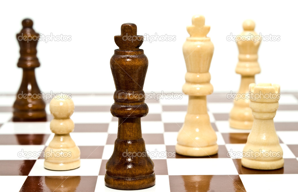 A chess is black and white on a white background — Stock Photo #4126517