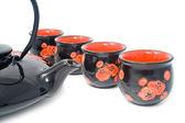 Chá preto-pote com dispositivos — Fotografia Stock
