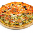 Pizza on a wooden board isolated — Stock Photo