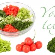 Stock Photo: Salad and vegetables separately collage