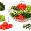Salad and vegetables separately collage — Stock Photo #5217722