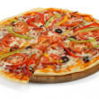 Pizza on a wooden board — Stock Photo