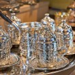 Turkish tea set at a market stall — Stock Photo