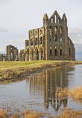 Ancient english abbey with reflection — Stock Photo