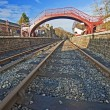 Train tracks at an old station — Stock Photo