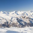 Panoramic view down a mountain valley — Stock Photo