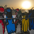 Stock Photo: Diving fins in rack at dawn