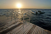 View from stern of a motor yacht — Stock Photo