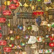 Ornate glass lights at a market stall — ストック写真