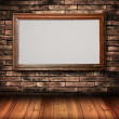 Wood frame on Brick Wall — Stock Photo
