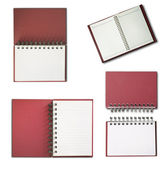 Red Notebook vertical single white page — Stock Photo
