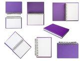 Paarse notebook collectie — Stockfoto