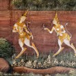 Thai art style Painted on a Temple Wall — Photo