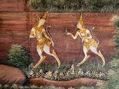 Estilo tailandés art pintado en una pared del templo — Foto de Stock
