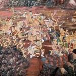 Thai art gold painting on wall — Stock Photo
