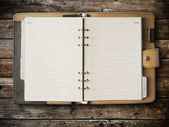 Black and cream leather cover of binder — Stock Photo