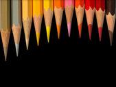 Eleven hot tone color pencil — Stock Photo