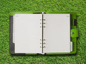 Open Green Cover Binder — Stock Photo