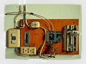 Old electrical panel switch — Stock Photo