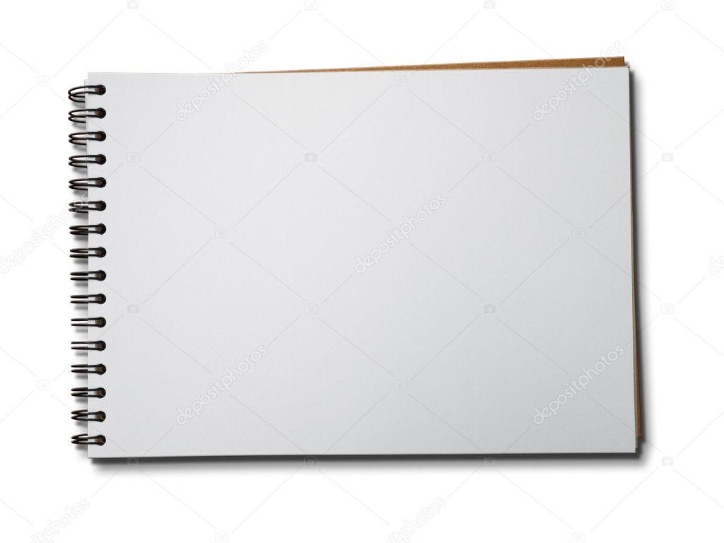 白色纸质笔记本水平