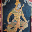 Stock Photo: Thai art gold painting on wall
