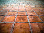 Perspective of Square red tiles — Stock Photo