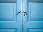 Old double door painted with blue — Stock Photo