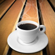 White ceramic of coffee on wood — Foto Stock