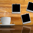 White cup of hot coffee on reflect table — Stock Photo