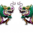 Foto Stock: Twin Chinese Dragon statue on white