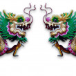 Twin Chinese Dragon statue on white — Stock Photo