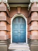 Blue entrance door — Stock Photo